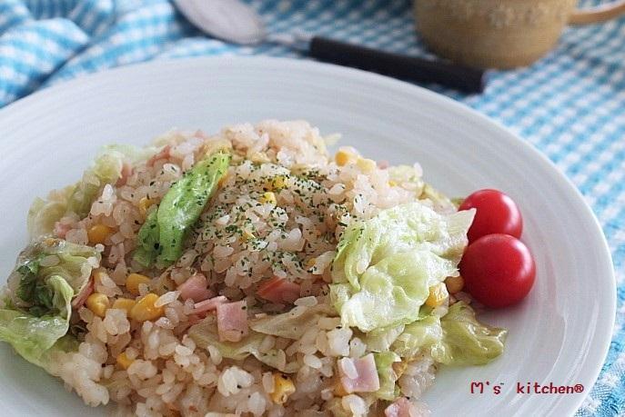 低糖質低カロリーレシピ:ハムとレタスの炒飯